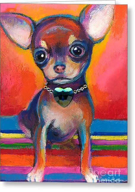 Chihuahua Portraits Greeting Cards - Chihuahua dog portrait Greeting Card by Svetlana Novikova