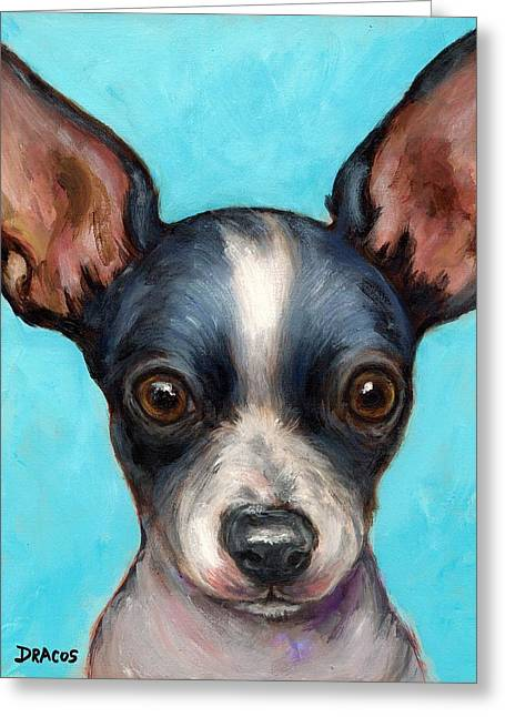Toy Dog Greeting Cards - Chihuahua puppy with big ears Greeting Card by Dottie Dracos