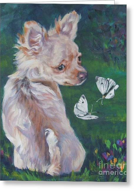 Chihuahua Portraits Greeting Cards - Chihuahua With Butterflies Greeting Card by Lee Ann Shepard