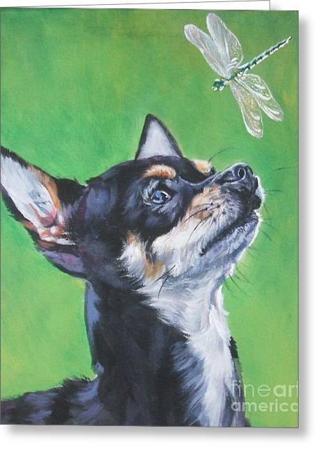 Chihuahua Portraits Greeting Cards - Chihuahua with dragonfly Greeting Card by Lee Ann Shepard