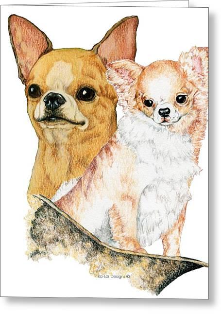 Chi Drawings Greeting Cards - Chihuahuas Greeting Card by Kathleen Sepulveda