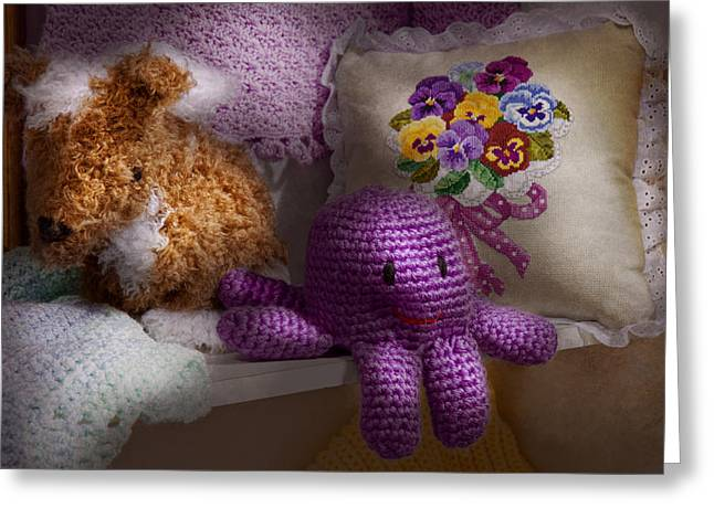 Sewing Rooms Greeting Cards - Child - Toy - Octopus in my closet  Greeting Card by Mike Savad