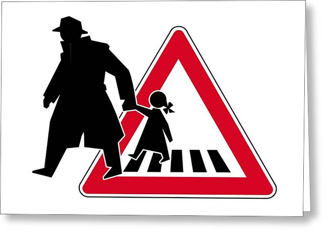 Schoolgirl Greeting Cards - Child Abduction, Conceptual Image Greeting Card by Smetek