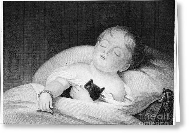 Sully Greeting Cards - CHILD AND PET, 19th CENTURY Greeting Card by Granger