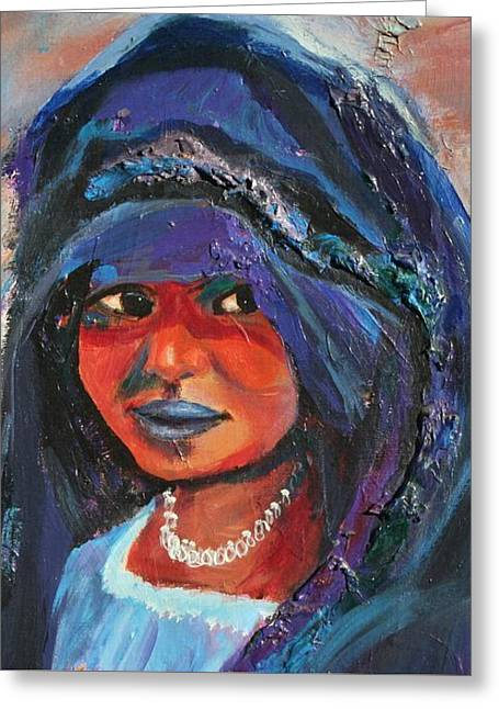 Child Bride Of The Sahara - Close Up Greeting Card by Avonelle Kelsey