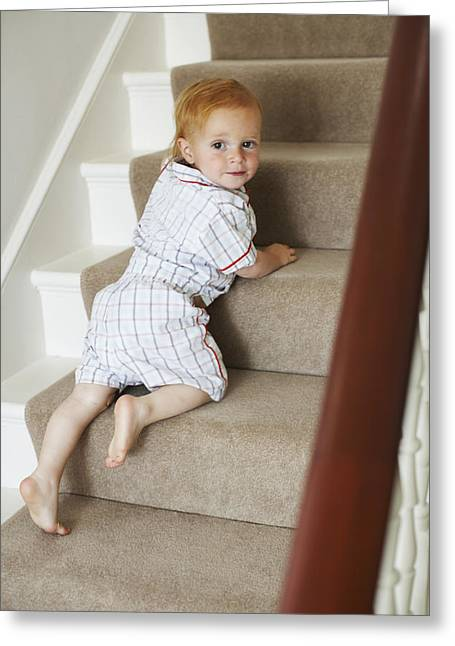 Child Care Greeting Cards - Child Climbing Stairs Greeting Card by Ian Boddy