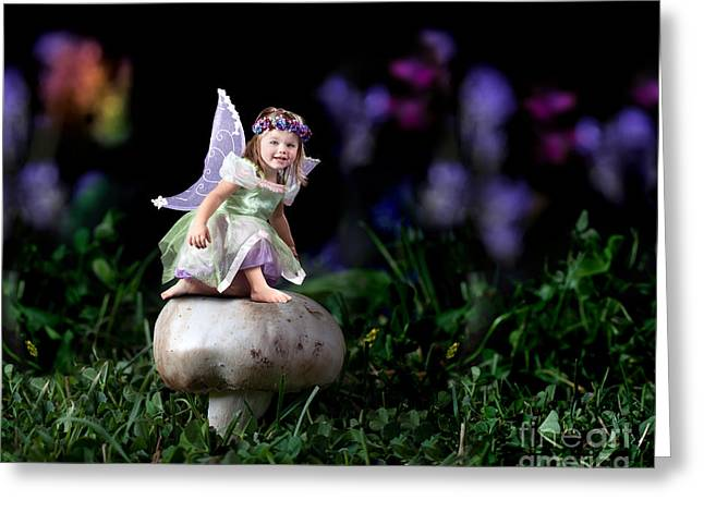 Toadstools Greeting Cards - Child Fairy on Mushroom Greeting Card by Cindy Singleton