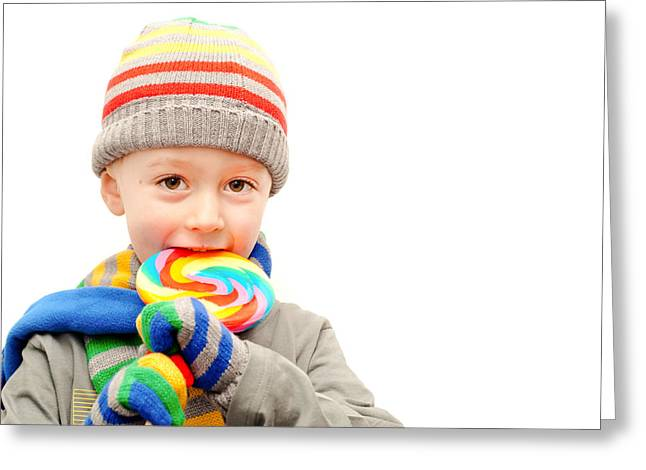 Striped Scarf Greeting Cards - Child in winter clothes  Greeting Card by Tom Gowanlock