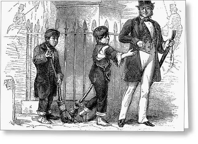 Street Sweeper Greeting Cards - Child Labor, 1861 Greeting Card by Granger