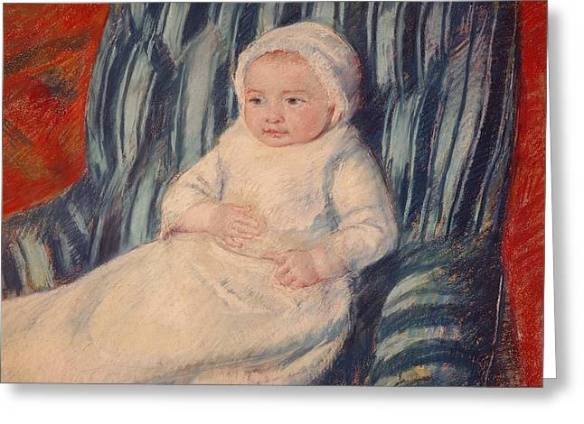 Innocence Greeting Cards - Child on a Sofa Greeting Card by Mary Cassatt