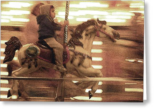 Galloper Greeting Cards - Child on Carousel Greeting Card by Grace Dillon