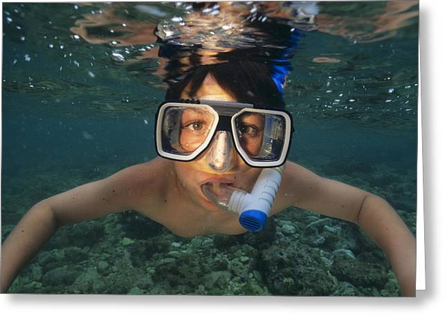 Snorkelling Greeting Cards - Child Snorkelling Greeting Card by Alexis Rosenfeld