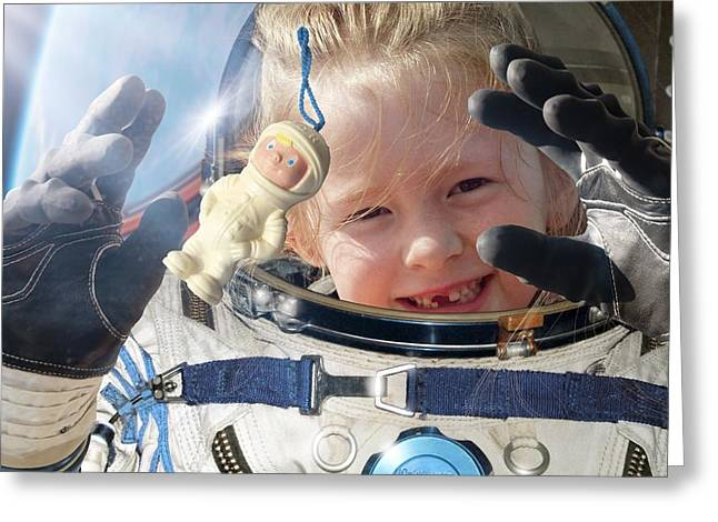 Floating Girl Greeting Cards - Child Space Tourist Greeting Card by Detlev Van Ravenswaay