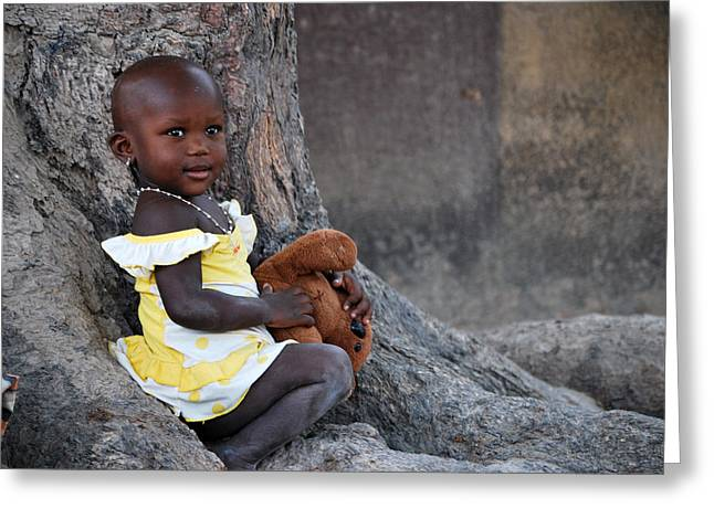 Child With Teddy Bear Greeting Cards - Child With Her Teddy Greeting Card by Kamel Rekouane