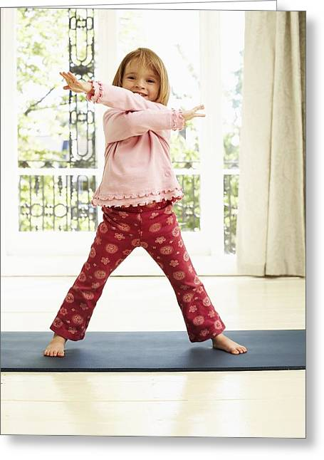 Dancing Girl Greeting Cards - Childhood Exercise Greeting Card by Ian Boddy