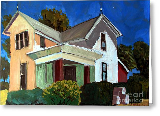 Rural Indiana Greeting Cards - Childhood Home plein air Greeting Card by Charlie Spear