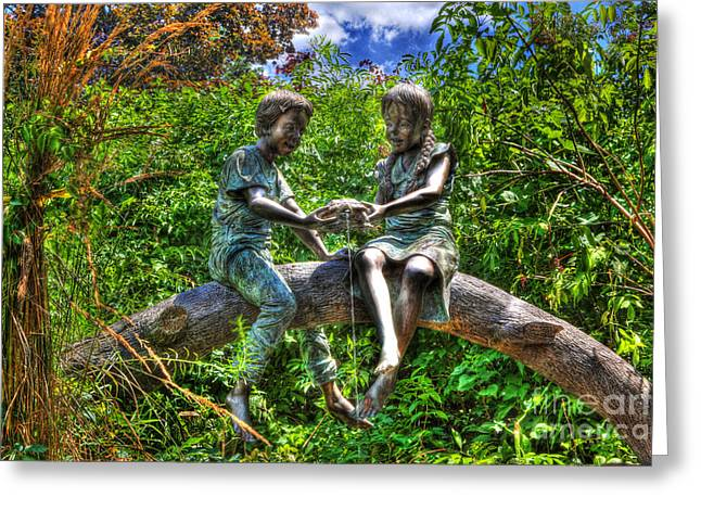 Large Scale Greeting Cards - Childhood Memories - Bronze Statue - Girl Boy Turtle  Greeting Card by Lee Dos Santos