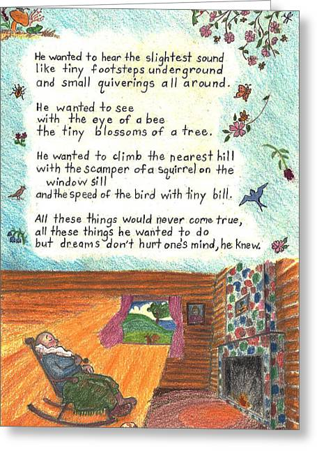 Old Cabins Drawings Greeting Cards - Childhood Poem and Illustration Greeting Card by Dawn Senior-Trask