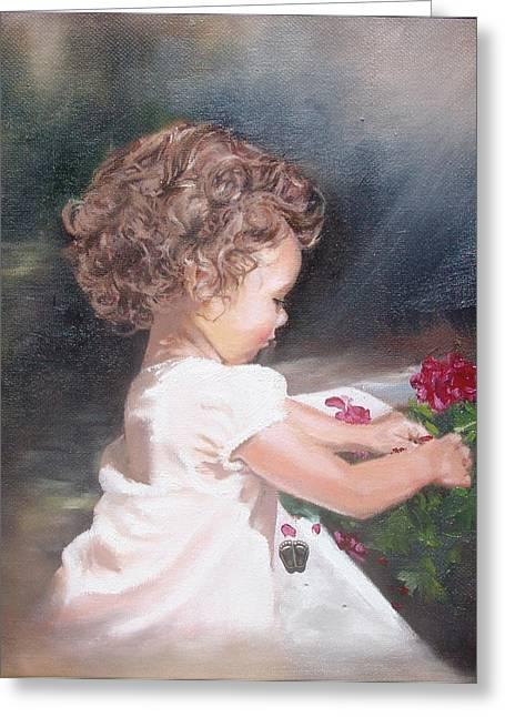 Baby Greeting Cards - Childlike Innocence Greeting Card by Celeste Nagy