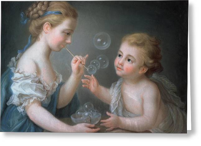 Glass Bowls Greeting Cards - Children blowing bubbles Greeting Card by Jean-Etienne Liotard