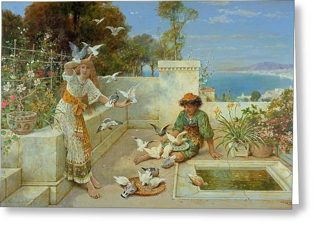 Feed Paintings Greeting Cards - Children by the Mediterranean  Greeting Card by William Stephen Coleman