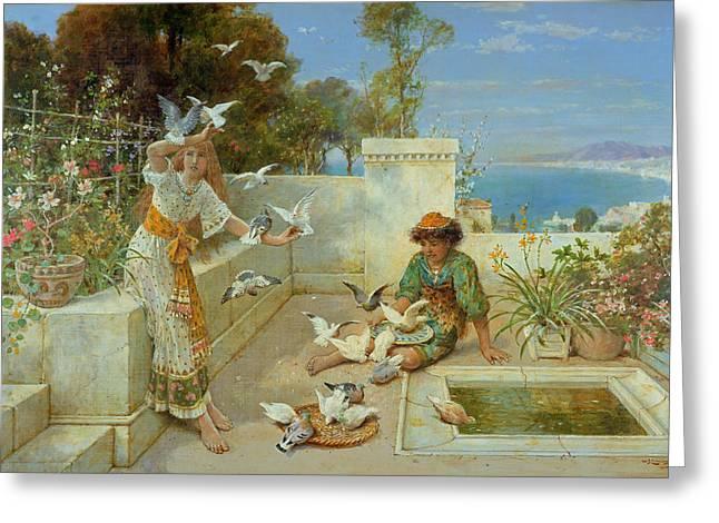 Feeding Birds Greeting Cards - Children by the Mediterranean  Greeting Card by William Stephen Coleman