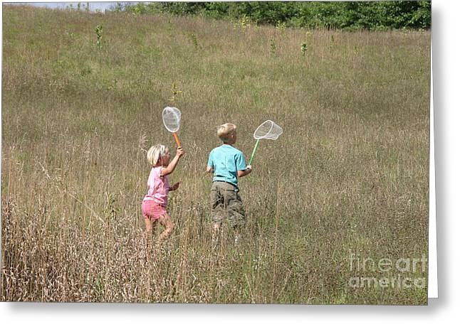 Netting Greeting Cards - Children Collecting Insects Greeting Card by Ted Kinsman