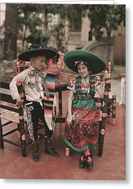Mexican Fiesta Greeting Cards - Children In Costume Reenact Colonial Greeting Card by B. Anthony Stewart