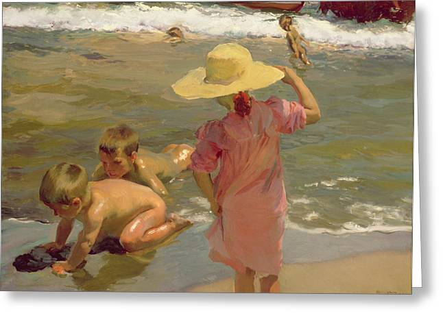 Dipping Greeting Cards - Children on the seashore Greeting Card by Joaquin Sorolla y Bastida