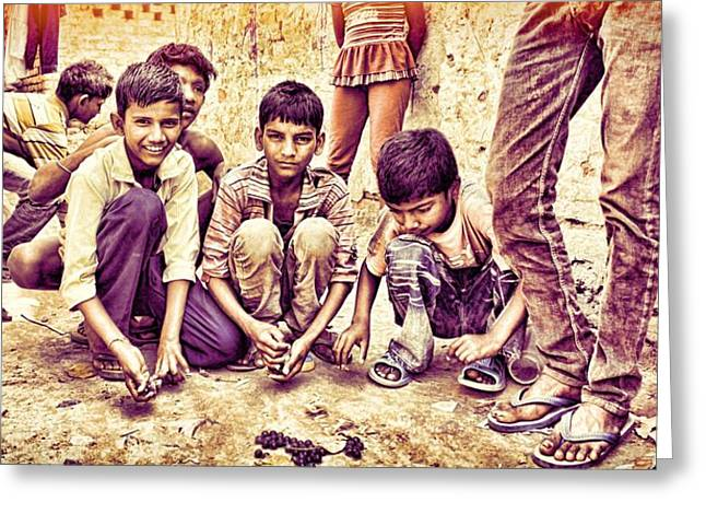 Child Pyrography Greeting Cards - Children Playing Greeting Card by Parikshat sharma