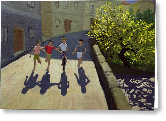 Boyhood Greeting Cards - Children Running Greeting Card by Andrew Macara