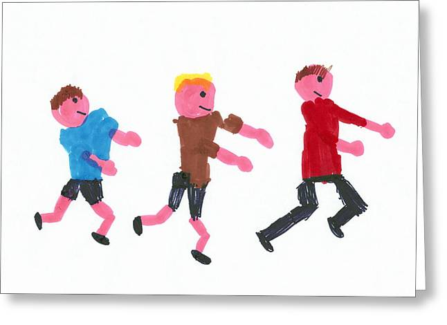Jogging Greeting Cards - Children Running Greeting Card by Sheila Terry
