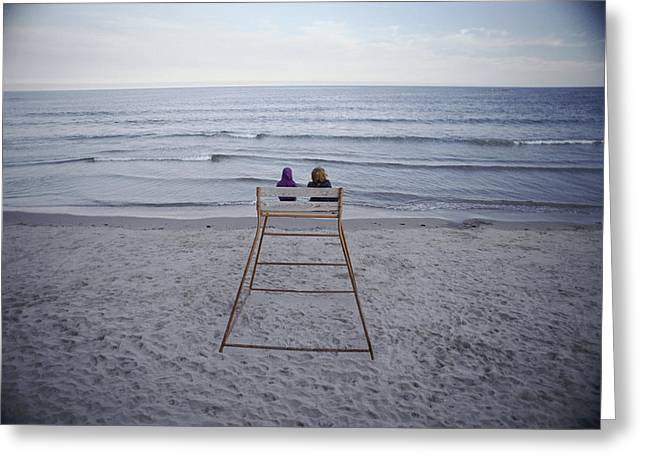 Benches And Chairs Greeting Cards - Children Sitting On A Life Guard Chair Greeting Card by Bill Curtsinger