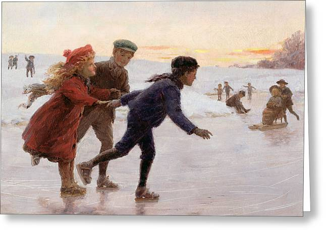 Skaters Greeting Cards - Children Skating Greeting Card by Percy Tarrant