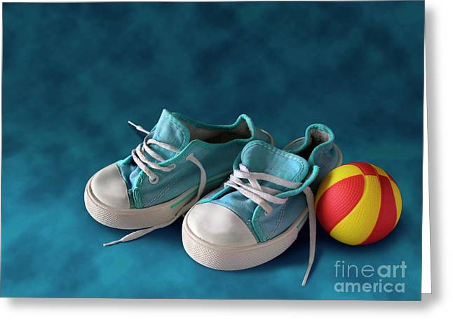 Child Toy Greeting Cards - Children Sneakers Greeting Card by Carlos Caetano