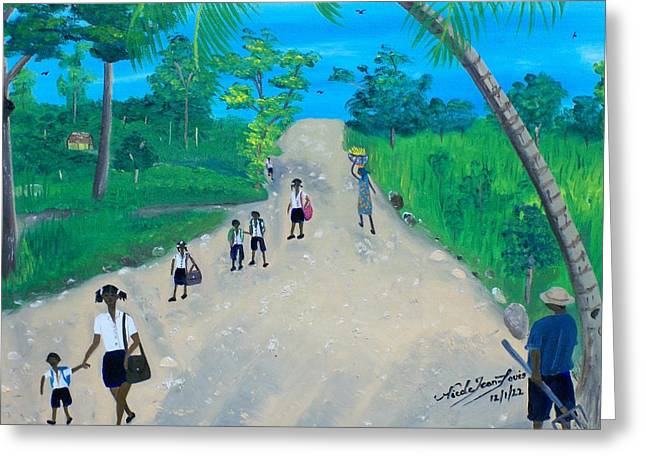 Nicole Jean-louis Greeting Cards - Children Walking to School Greeting Card by Nicole Jean-Louis