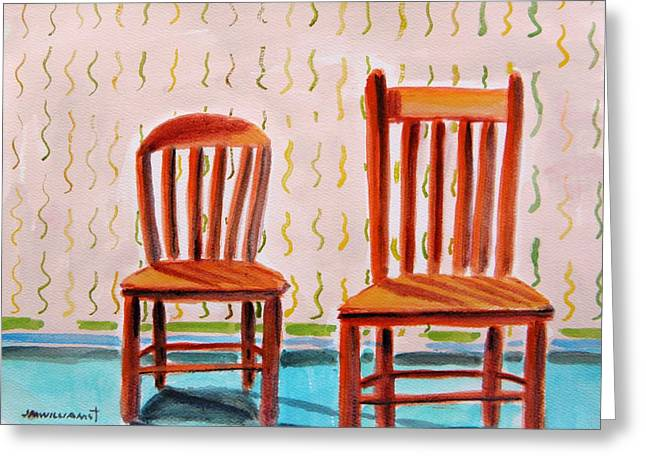 Interior Still Life Drawings Greeting Cards - Childrens Chairs Greeting Card by John  Williams
