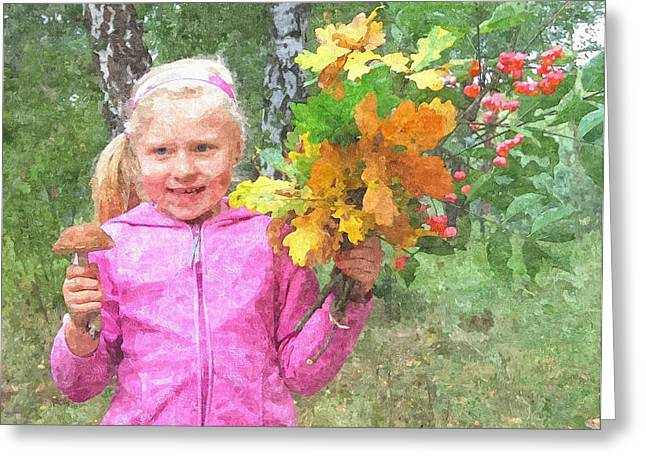 Children's Fall Greeting Card by Tomasz Bujak