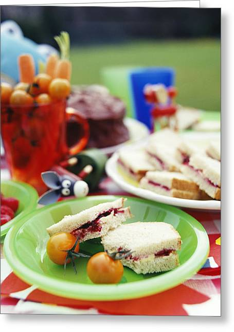 Kids Party Greeting Cards - Childrens Picnic Food Greeting Card by David Munns