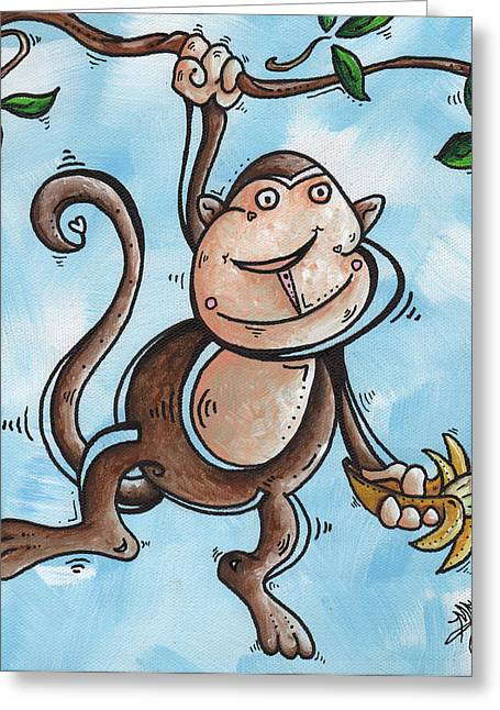 Licensor Greeting Cards - Childrens Whimsical Nursery Art Original Monkey Painting MONKEY BUTTONS by MADART Greeting Card by Megan Duncanson
