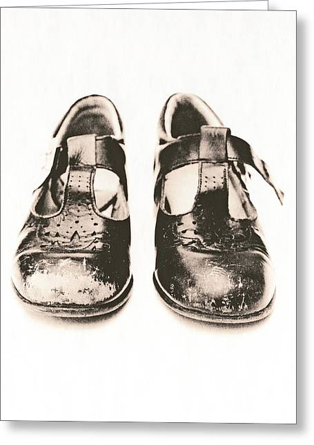 Straps Greeting Cards - Childs Worn Shoes Greeting Card by Kevin Curtis