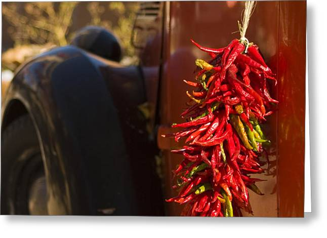 Chile Hang From The Door Of An Old Greeting Card by Ralph Lee Hopkins