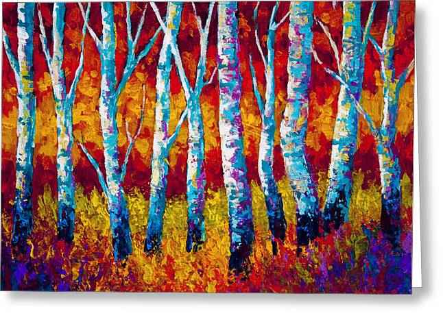 Birch Trees Greeting Cards - Chill in the Air Greeting Card by Marion Rose