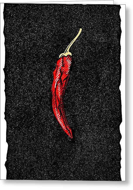 Linocut Greeting Cards - Chilli Pepper, Woodcut Greeting Card by Gary Hincks