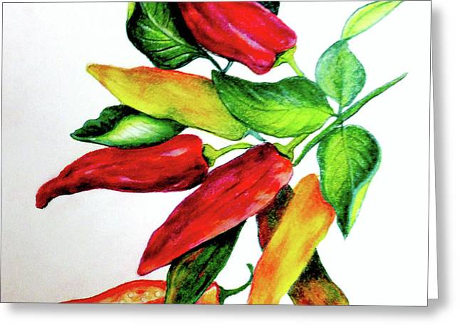 Chillies From My Garden Greeting Card by KARIN KELSHALL- BEST