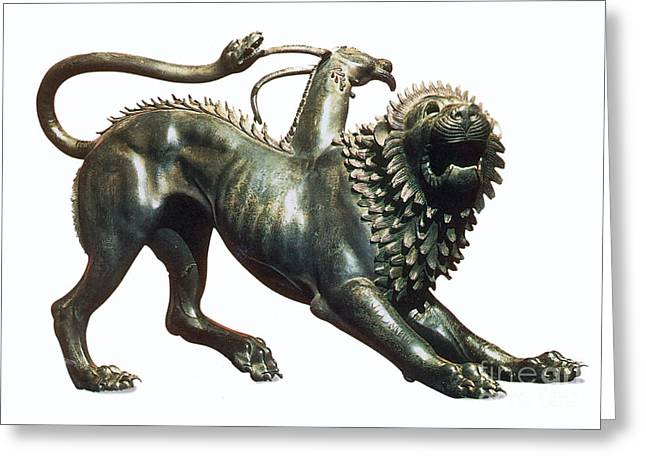 Greek Sculpture Greeting Cards - Chimera Of Arezzo, 400 B.c Greeting Card by Photo Researchers