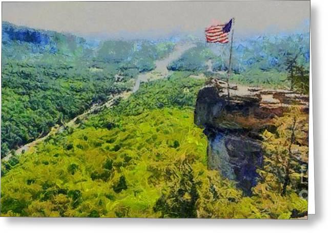 Chimney Rock North Carolina Greeting Cards - Chimney Rock NC Greeting Card by Elizabeth Coats