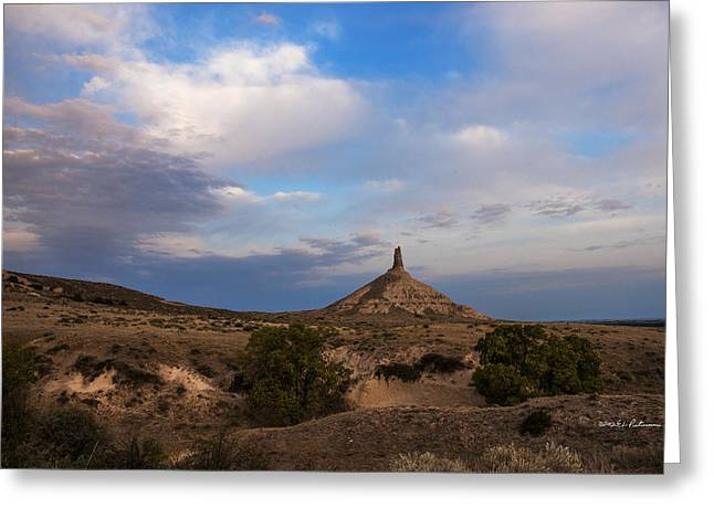 Chimney Rock On The Oregon Trail Greeting Card by Edward Peterson