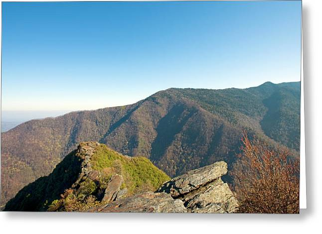 Smokey Mountains Greeting Cards - Chimney Tops Vista in Great Smoky Mountain National Park Tennessee Greeting Card by Brendan Reals