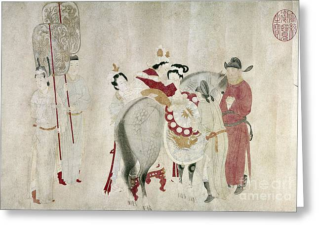 Colophon Drawings Greeting Cards - China - Concubine And Horse Greeting Card by Granger